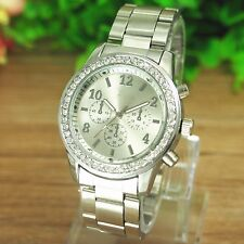 Fashion Stainless Steel Luxury Alloy Quartz Girl Women Ladies Wrist Watch