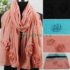 New Elegant Stylish Fashion 3D Flower Cotton Cozy Long Scarf Shawl Mixed 3 Style