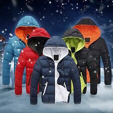 Men Winter Casual Slim Jacket Cotton Thick Coat Hooded Parka Warm Down Outwear