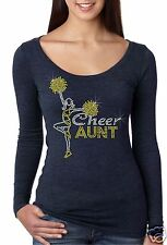 Bling Rhinestone ''CHEER AUNT'' Next Level Woman Tri-Blend Long Sleeve Scoop