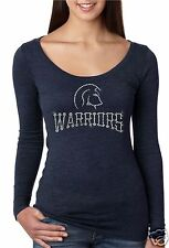 Bling Rhinestone ''WARRIORS'' Next Level Woman Tri-Blend Long Sleeve Scoop