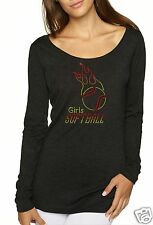 Bling Rhinestone ''GIRLS SOFTBALL'' Next Level Woman Tri-Blend Long Sleeve Scoop