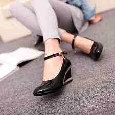 2015 Womens Patent Wedge Heel Pumps Mary Janes Court Ankle Strap Shoes Plus Size