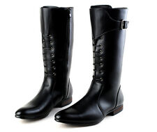 Mens Side Zipper KNee High Ridding Esquestrain Long Vintage Pointy Cowboy Boots