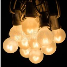 25 Foot Outdoor Globe Patio String Lights - Set of 25 G30 White Pearl Bulbs