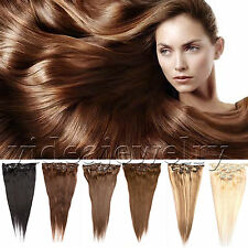 """7Pcs Clip In 100% Remy Real Human Hair Extension Straight 70g/100g 14""""-26"""" Q"""