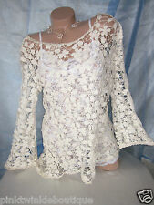 Nwt Victorian Ivory Cream Crocheted Sheer Lace Knit Blouse Top Bell Sleeve Tunic