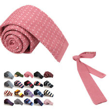 Mens New Skinny Knit Tie Fashion Thin Slim Solid Formal Knitted Tie