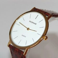 Ultra-thin Famous Branded Business Leather Band Large Dial Men Quartz Wristwatch