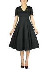 Plus Size Black Gothic Retro 1940s Full Dress with Lace 2X 3X 4X