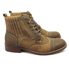 New Men's Tan Brown Ferro Aldo High Top Boots Cap / Wing Tip Toe Leather Lace