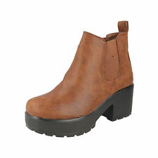 GIRLS SPOT ON BROWN PLATFORM  PULL ON BOOTS STYLE: H3039
