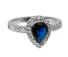 Dainty TearDrop Pave Clear And Sapphire AAA Cubic Zirconia Halo Ring
