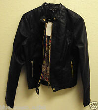 NEW TRENDY FASHION PU FAUX LEATHER WOMEN JACKET COAT BIKE MOTORCYCLE BIKER BLACK