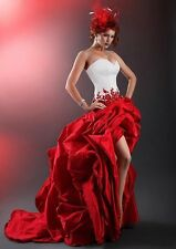 Elegance White And Red Strapless A-line Beautiful Wedding Dresses Custom Made