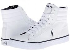 POLO RALPH LAUREN BAWTRY HI TOP TRAINER. WHITE CANVAS, SIZES 8 9 OR 10 UK, NEW