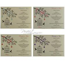 Personalised Ivory Wedding Menu Insert Cards Bird Cage And Solid Heart Design