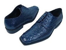 "Men's Dress Shoes ""BOLANO DARBY-002"" Navy Oxfords Lace Up Gator Print"