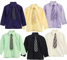 Toddler Boys Long Sleeve Solid Button Down Dress Shirt And Ties Clothes 2T 3T 4T