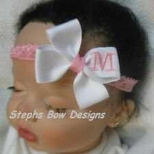 PINK & WHITE MONOGRAMMED PERSONALIZED DAINTY HAIR BOW MONOGRAM A-Z LETTERS CUTE