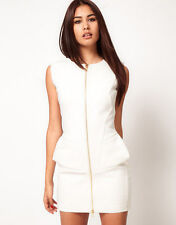 New Aqua Commodore Zip Front Structured Dress in Cream rrp £95