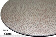 New Mauve Mosaic Round Vinyl Fitted Dining Tablecloth Patio Picnic Cover US Made