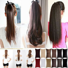 Premium elegance Clip In Pony Tail Hair Extension wrap on long curly Ponytail Ju
