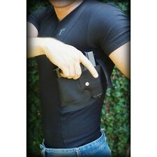 Concealment Holster Tee Shirt Spandex Black with Retention Tagua