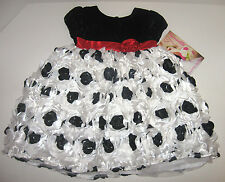 NWT NANNETTE Girls Toddler Black/White Puff Dress Sizes 2T,4T
