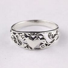 Womens Solid 925 Sterling Silver Vintage Style Filigree Adorned Heart Ring