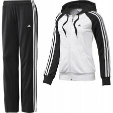 Womens New Adidas Full Tracksuit Hoodie Top & Jogging Bottoms Pants -Black White