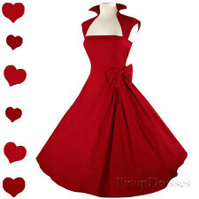 New RED Pinup 50s Rockabilly Swing Full Skirt PARTY Dress S M L XL XXL 1X 2X 3X
