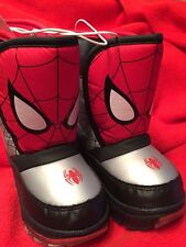 NEW Boys Marvel Light-up Spiderman Winter Snow Boots Toddler Sizes 5-12