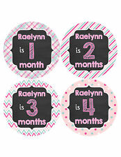 Personalized Baby Girl Monthly Stickers Custom Baby Name Month Sticker #486