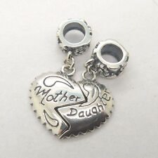 Mother's day gift silver 'mother daughter' lovely heart dangle charm bead