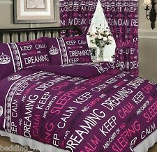 KEEP CALM BERRY PURPLE LILAC PINK CARRY ON SLEEPING DREAMING BEDDING OR CURTAINS