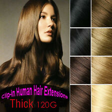 120g 8PCS Virgin Clip in Real Human Hair Extensions,Black Brown Blonde Full Head