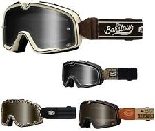 100% Barstow Legend Street and Motocross Goggles Dalloz Curved Lens