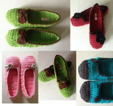 LADIES GIRLS SLIPPERS HAND KNIT WARM DURABLE STRETCHY - OFFER