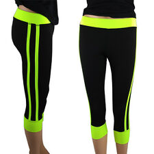 2 Pack: Ladies Active Yoga Neon Striped Capri Yoga Pants In Assorted Colors