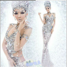 2015 Sexy women's silver sequins pageant dress mermaid gown -A gift of earring