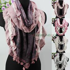 Floral Ruffle With Pretty Mohair&Lace Trim Tassel Knit Scarf/Infinity Cowl Scarf
