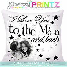 ❤PERSONALISED CUSHION I LOVE YOU TO THE MOON AND BACK MOTHERS FATHERS DAY GIFT ❤