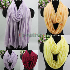Womens Cotton Solid Color Long Scarf With Trim Eyelash Fringe/Infinity Scarf New