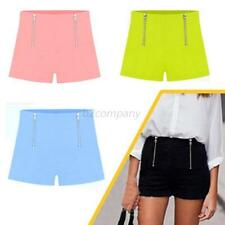 Summer Womens Casual Hot Pants Candy Colors High Waist Zipper Design Shorts B17