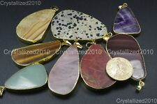 Natural Gemstone Nugget Sliced Reiki Chakra Healing Pendant Necklaces Beads Gold
