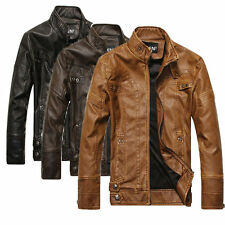Hot sell Fashion Men's Leather Motorcycle Coats Jackets Washed Leather Coat