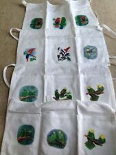 White Three Pocket Half Apron with Parrots on pockets