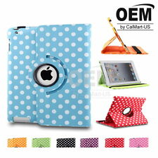 HIGH QUALITY Rotating Stand Polky Dot Leather Tablet Case Fit iPad (2nd-4th Gen)