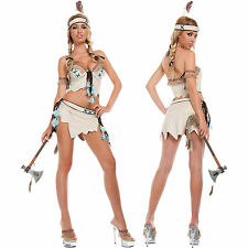 Sexy Native American Indian Princess Suede Top Mini Skirt Halloween Costume